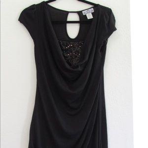 Black dress with sequin underlay